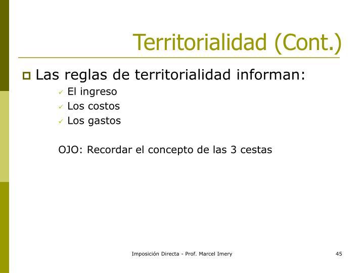 Territorialidad (Cont.)
