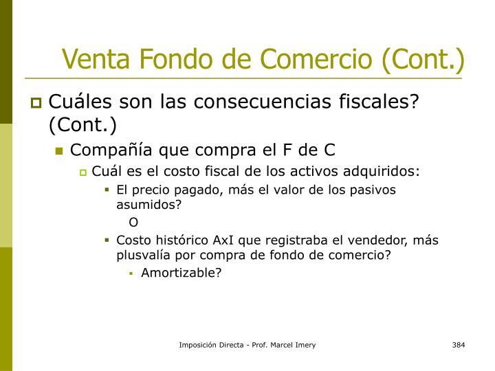 Venta Fondo de Comercio (Cont.)