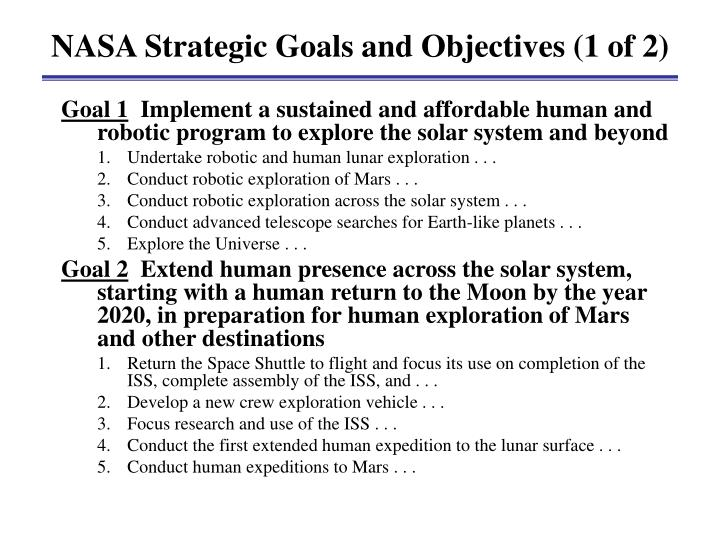 NASA Strategic Goals and Objectives (1 of 2)
