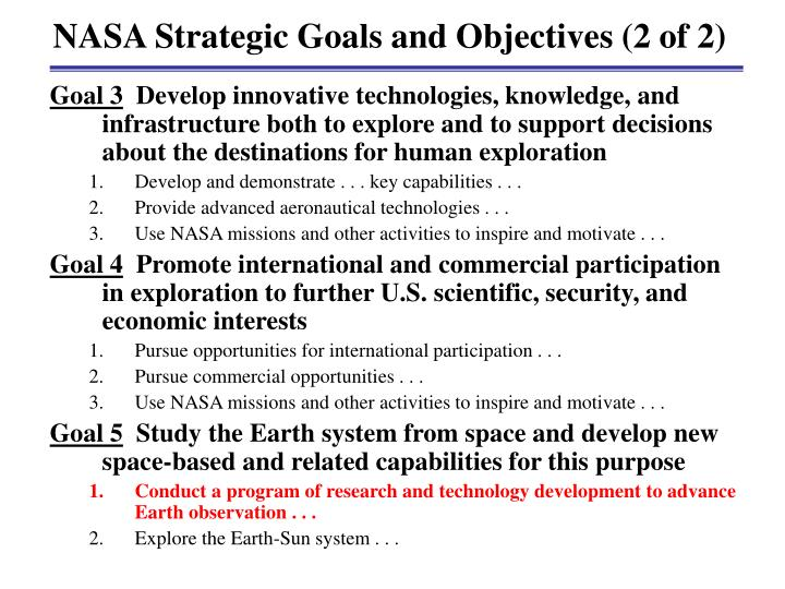NASA Strategic Goals and Objectives (2 of 2)