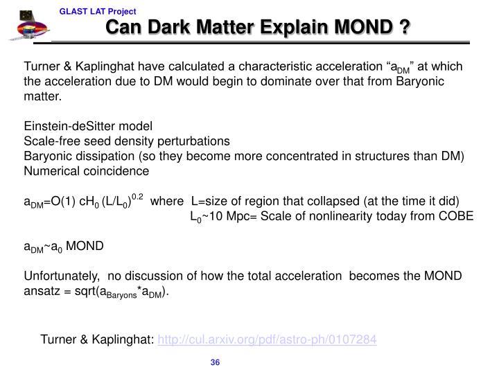 Can Dark Matter Explain MOND ?