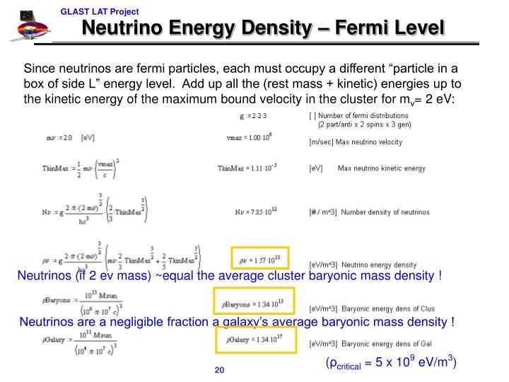 Neutrino Energy Density – Fermi Level