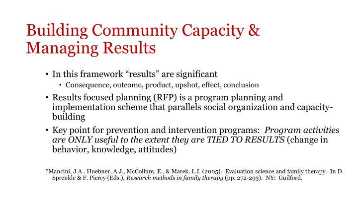 Building Community Capacity &