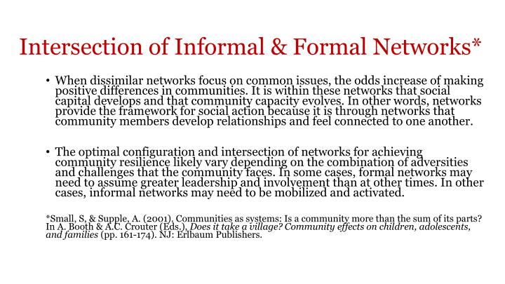 Intersection of Informal & Formal Networks*