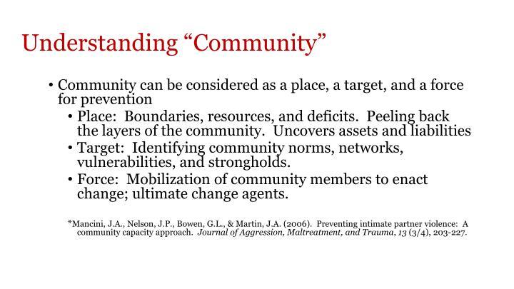 """Understanding """"Community"""""""