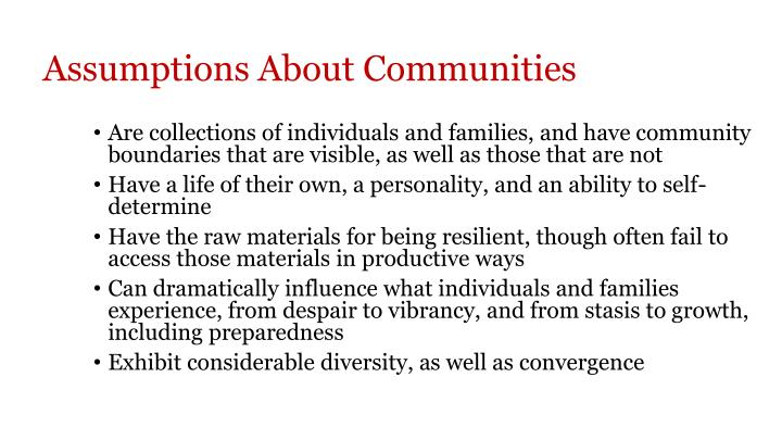 Assumptions About Communities