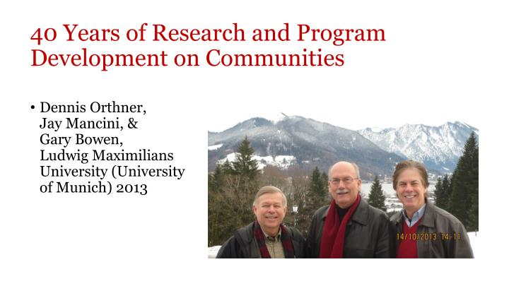 40 Years of Research and Program Development on Communities