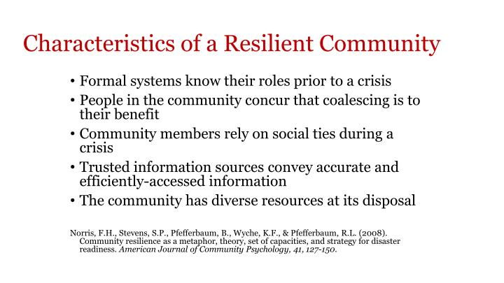 Characteristics of a Resilient Community
