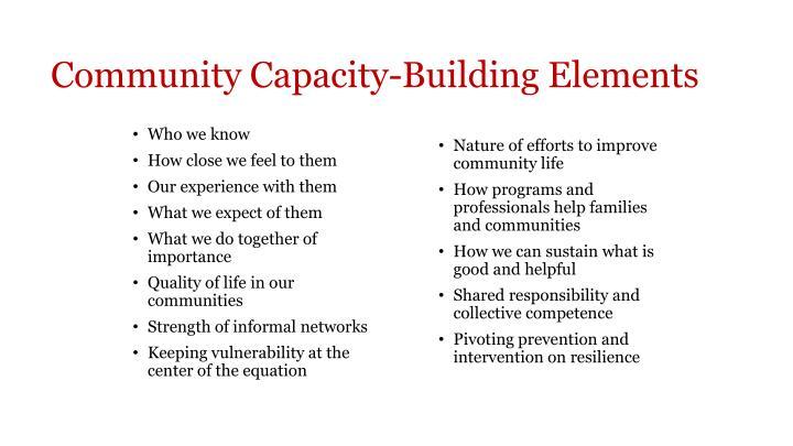 Community Capacity-Building Elements