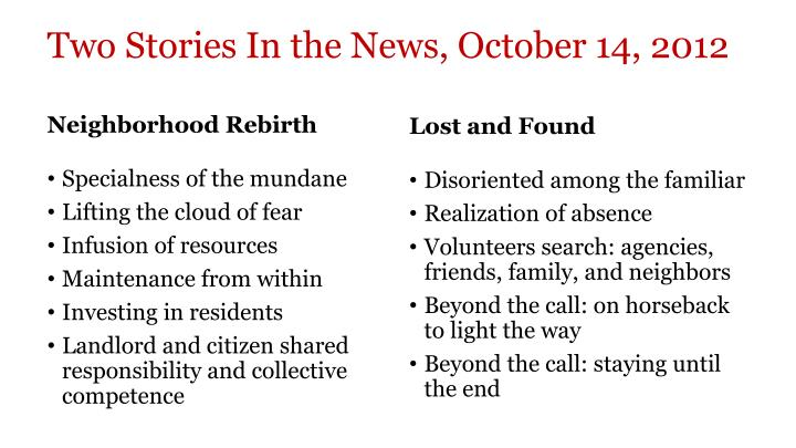 Two Stories In the News, October 14, 2012