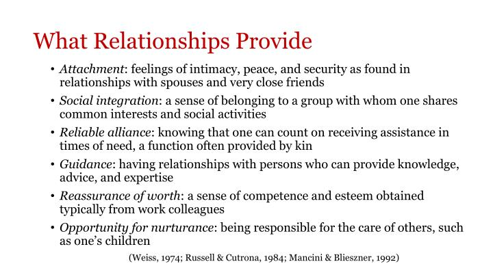 What Relationships Provide