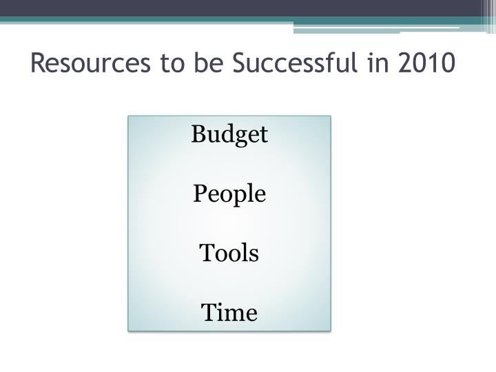Resources to be Successful in 2010