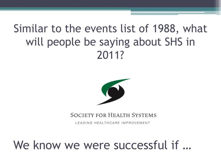 Similar to the events list of 1988, what will people be saying about SHS in 2011?