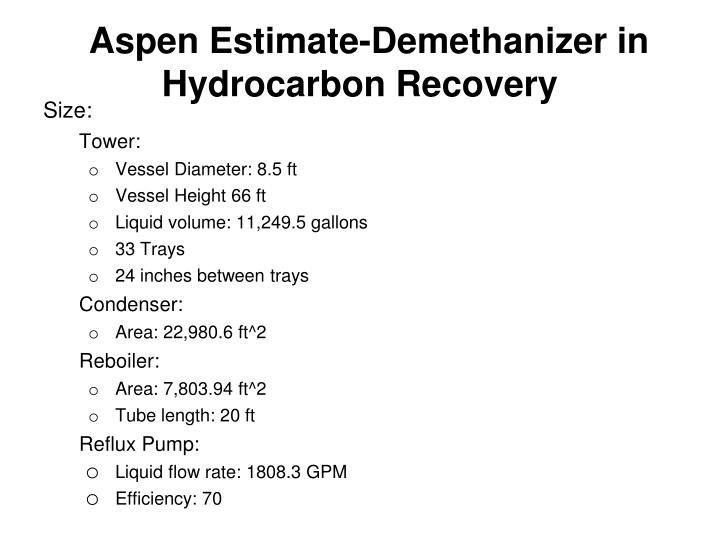 Aspen Estimate-Demethanizer in Hydrocarbon Recovery