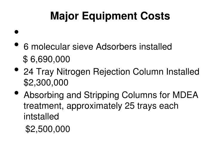 Major Equipment Costs