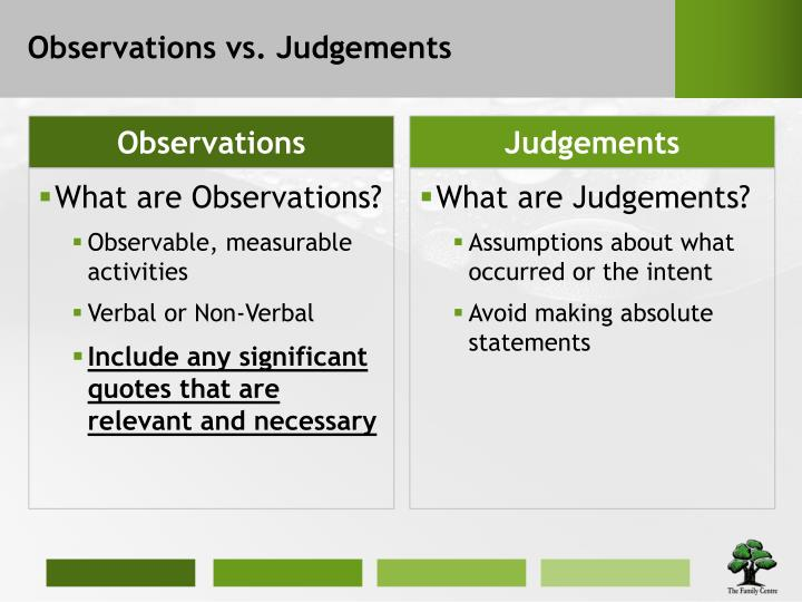 Observations vs. Judgements