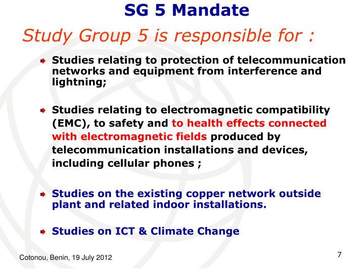 SG 5 Mandate