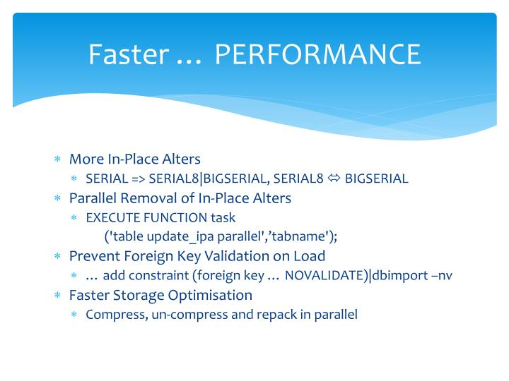 Faster … PERFORMANCE