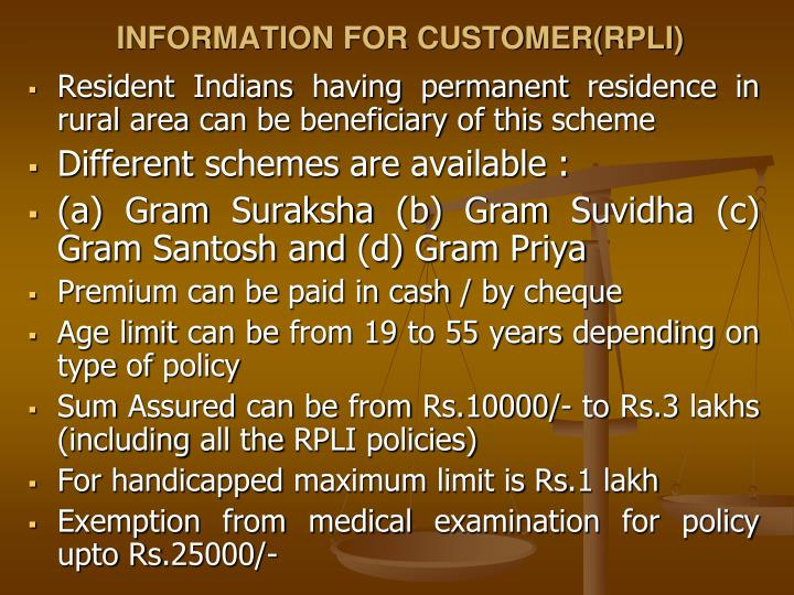 INFORMATION FOR CUSTOMER(RPLI)