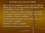 information for customer