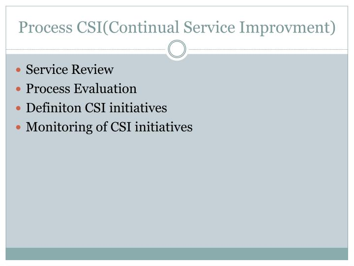 Process CSI(Continual Service Improvment)