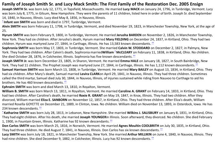 Family of Joseph Smith Sr. and Lucy Mack Smith: The First Family of the
