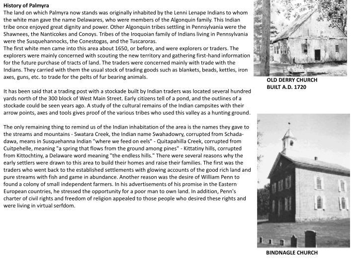 History of Palmyra