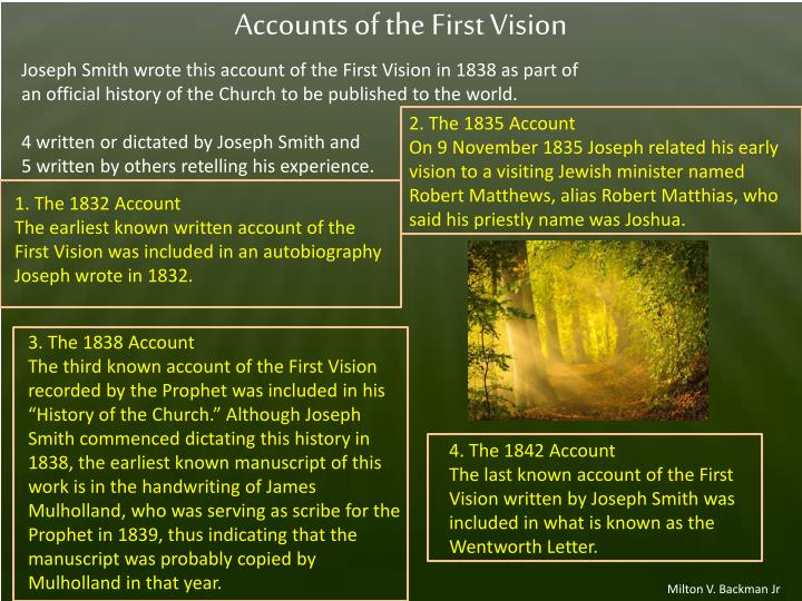 Accounts of the First Vision