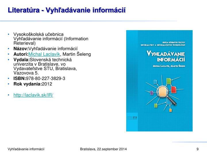 Literatúra - Vyhľadávanie informácií