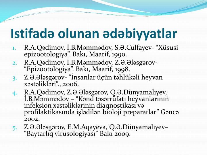 Istifadə olunan ədəbiyyatlar