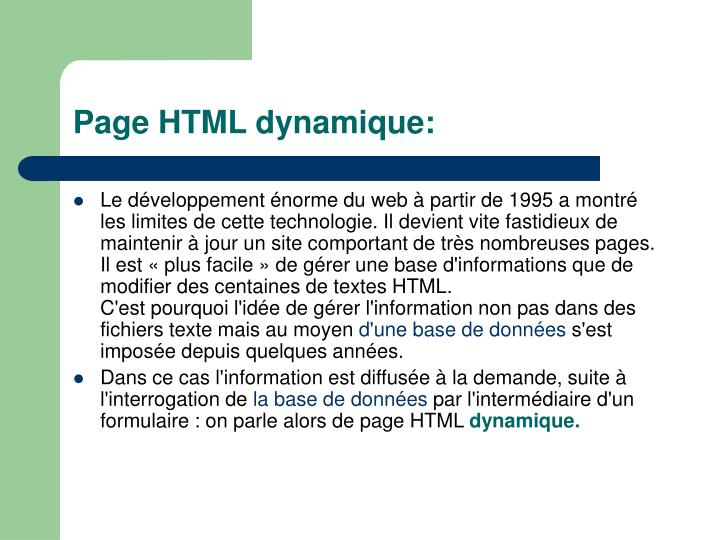 Page html dynamique
