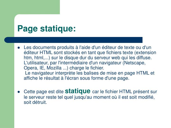 Page statique: