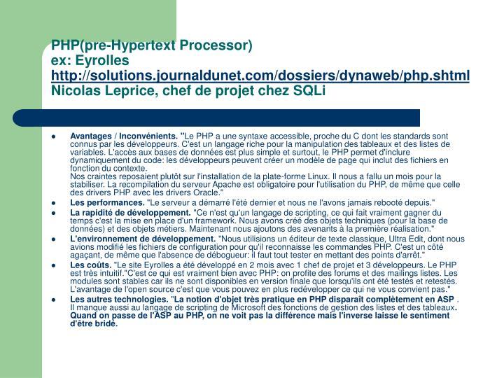 PHP(pre-Hypertext Processor)