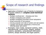 scope of research and findings