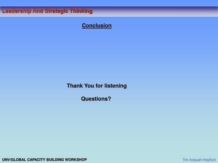 Leadership And Strategic Thinking