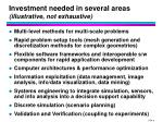 investment needed in several areas illustrative not exhaustive