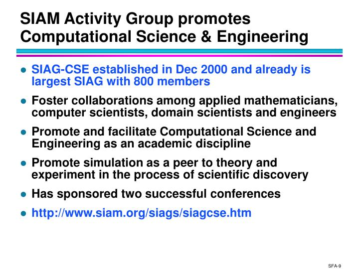 SIAM Activity Group promotes Computational Science & Engineering