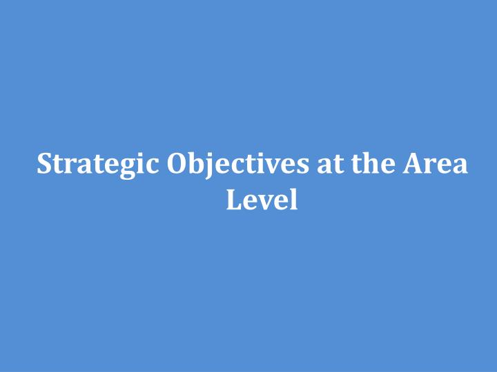 Strategic Objectives at the Area Level