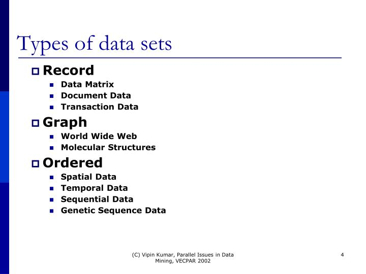 Types of data sets