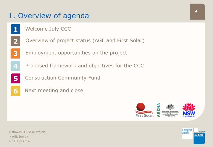 1. Overview of agenda