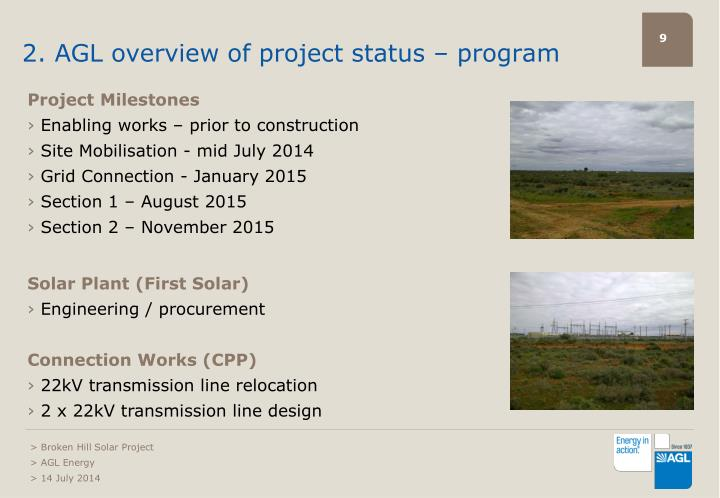 2. AGL overview of project status – program