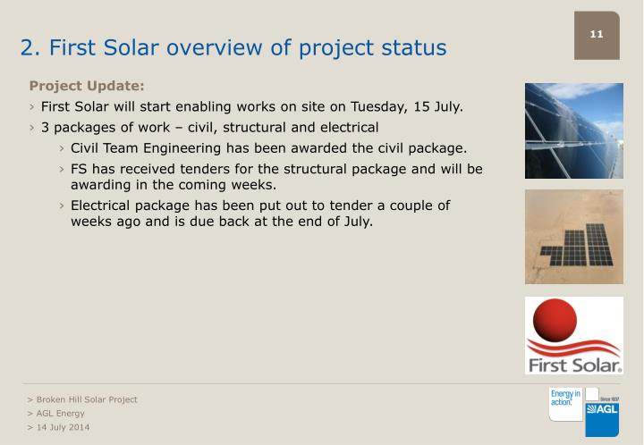 2. First Solar overview of project status