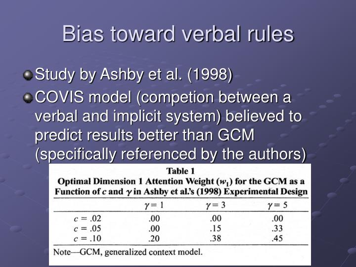 Bias toward verbal rules