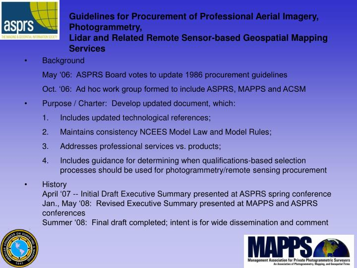 Guidelines for Procurement of Professional Aerial Imagery, Photogrammetry,