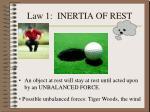 law 1 inertia of rest