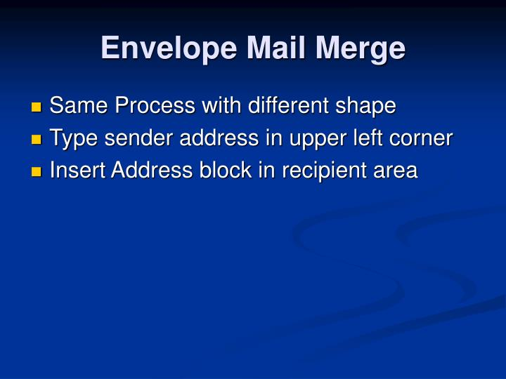 Envelope Mail Merge