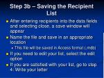 step 3b saving the recipient list
