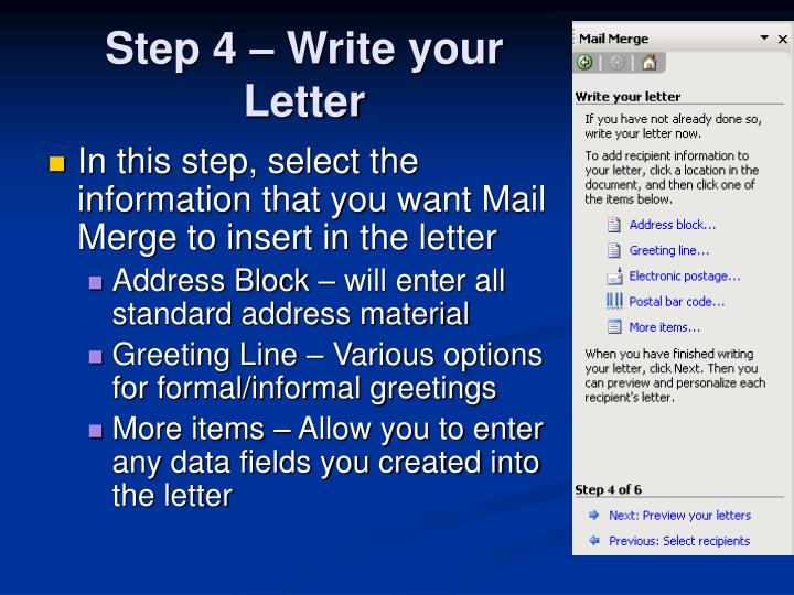Step 4 – Write your Letter
