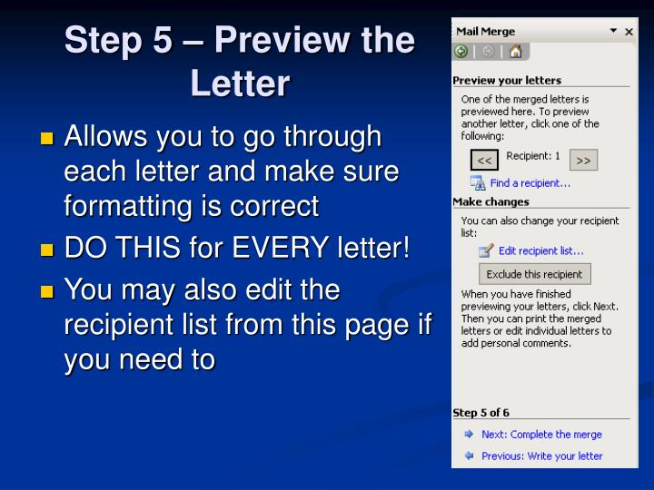 Step 5 – Preview the Letter