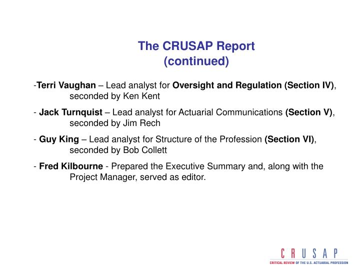 The CRUSAP Report